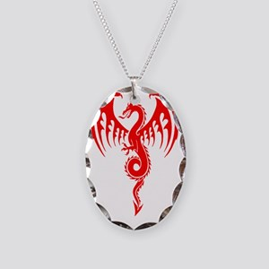 red tribal dragon Necklace Oval Charm