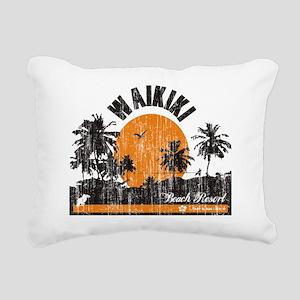 Waikiki - Beach Resort Rectangular Canvas Pillow