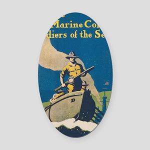 post_usmc_ww1_soldiers-sea1 Oval Car Magnet