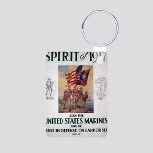 WWI classic U.S. Marines r Aluminum Photo Keychain