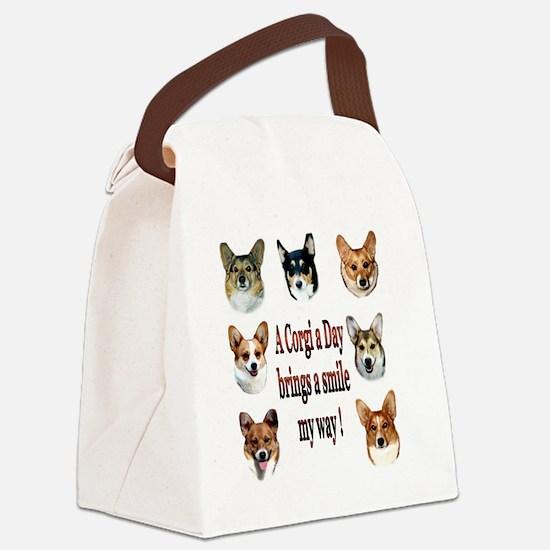 A Corgi a Day Brings a Smile Canvas Lunch Bag