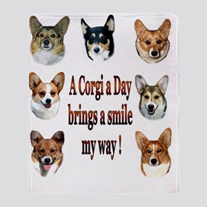 A Corgi a Day Brings a Smile Throw Blanket