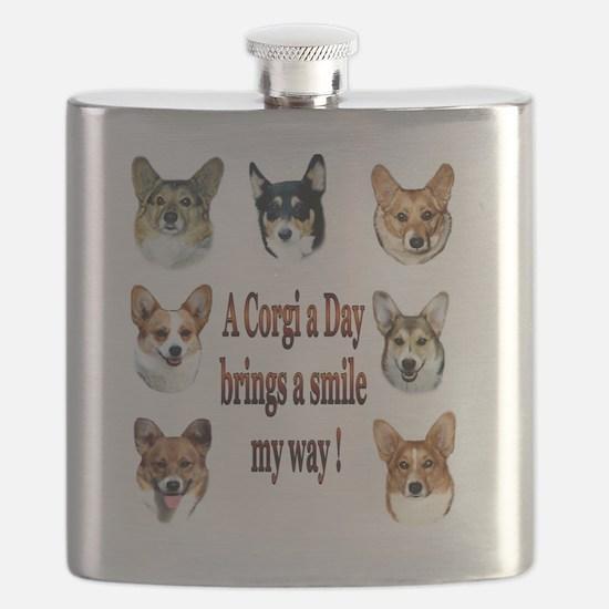 A Corgi a Day Brings a Smile Flask