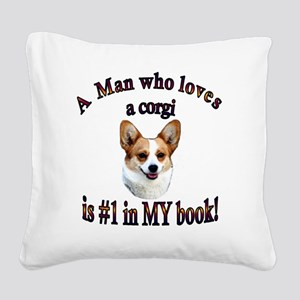 A Man who loves a Corgi - Dot Square Canvas Pillow