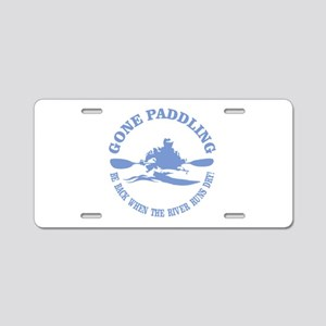 Gone Paddling 3 Aluminum License Plate