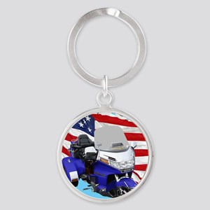 AB08 C-MOUSE FREE BLUE Round Keychain