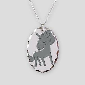 angryunicorn_trans Necklace Oval Charm