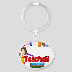 First Grade Teacher Oval Keychain