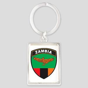BlackShieldZambia1 Portrait Keychain