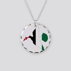 Peace in Palestine Necklace Circle Charm