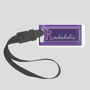 rockaholicstickerborder Small Luggage Tag