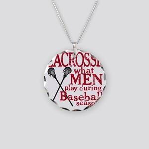 2-men play lacrosse red Necklace Circle Charm