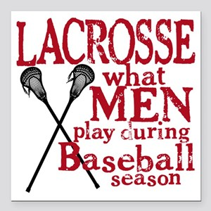 "2-men play lacrosse red Square Car Magnet 3"" x 3"""