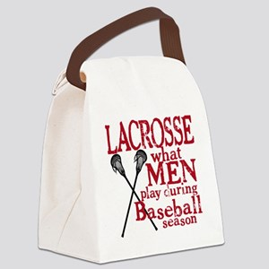 2-men play lacrosse red Canvas Lunch Bag
