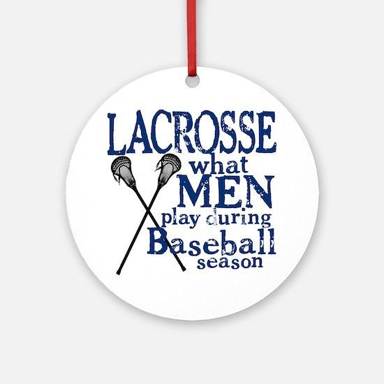 2-men play lacrosse blue Round Ornament