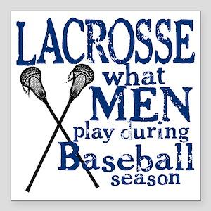 """2-men play lacrosse blue Square Car Magnet 3"""" x 3"""""""