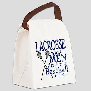2-men play lacrosse blue Canvas Lunch Bag