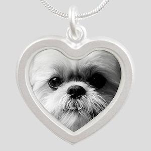 Heavenly Shih Tzu Silver Heart Necklace