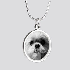 Heavenly Shih Tzu Silver Round Necklace
