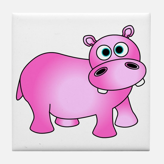 Cute Pink Baby Hippo Tile Coaster