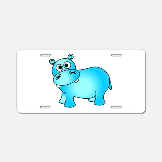 Cute Pink Baby Hippo Aluminum License Plate
