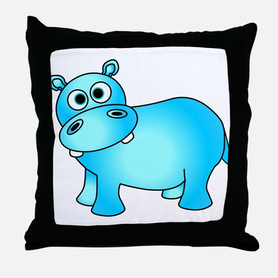 Cute Pink Baby Hippo Throw Pillow