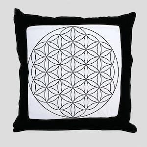 Flower-of-Life-white Throw Pillow