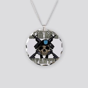 infantry skull Necklace Circle Charm