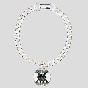 infantry skull Charm Bracelet, One Charm
