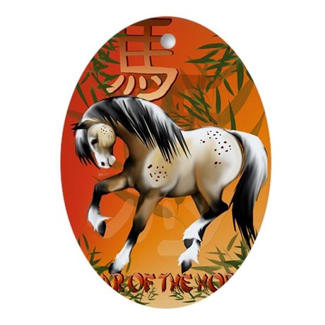 YearOfTheHorsePosterP Oval Ornament