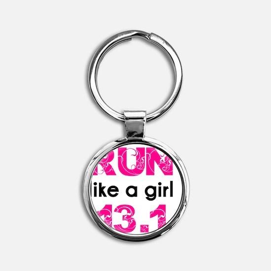 running_swirl_sticker13 Round Keychain