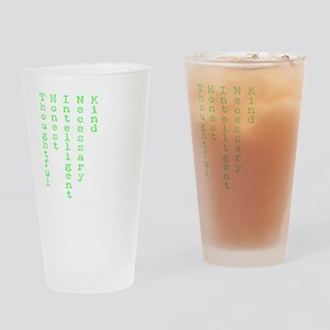 Think Green Transparent Drinking Glass