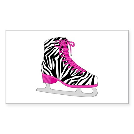Zebra Pink and Black Ice Skate Sticker