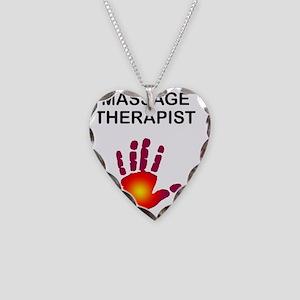MASSAGE THERAPIST BLK W SUN H Necklace Heart Charm