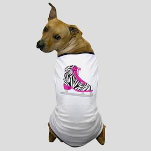Zebra Pink and Black Ice Skate Dog T-Shirt