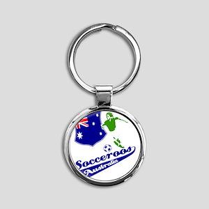 soccer player designs Round Keychain