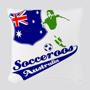 soccer player designs Woven Throw Pillow