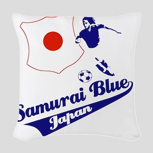 japan soccer Woven Throw Pillow