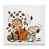 Peanuts fall Tile Coasters