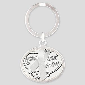 Hope Love Faith Heart (White) Oval Keychain