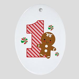 Gingerbread Boy 1st Birthday Ornament (Oval)