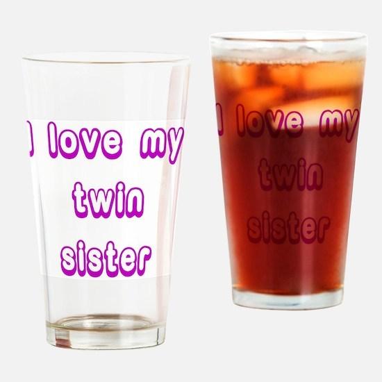 ilovemytwinsisterPURPLE Drinking Glass