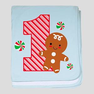 Gingerbread Boy 1st Birthday baby blanket