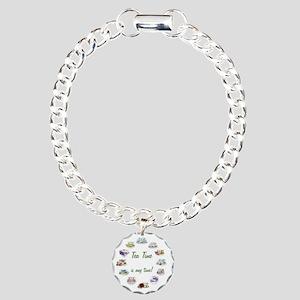 TeaTime Clock Charm Bracelet, One Charm