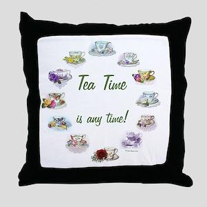 TeaTime Clock Throw Pillow