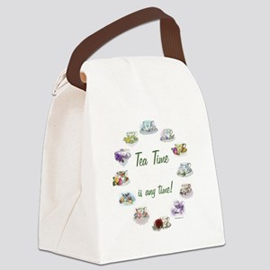 TeaTime Clock Canvas Lunch Bag