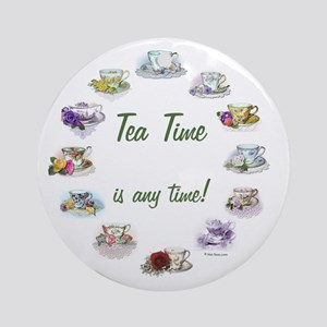 TeaTime Clock Round Ornament