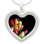 Tulips Silver Heart Necklace