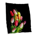 Tulips Burlap Throw Pillow