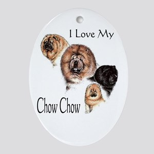 I Love my Chow Chow Oval Ornament